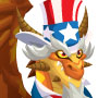 The Uncle Sam Dragon adult from Levels 7 to 30