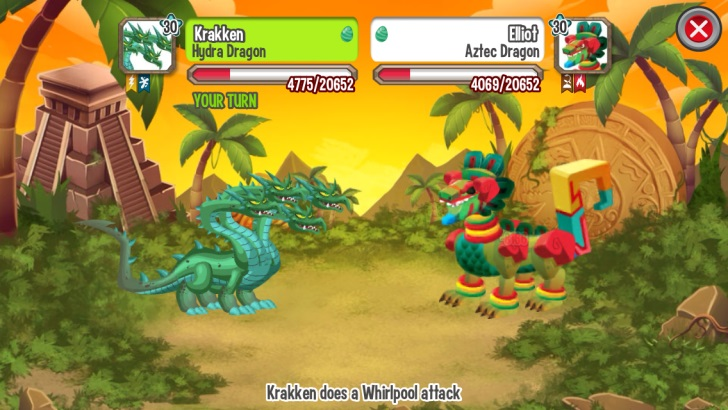 First Fight against Aztec Dragon