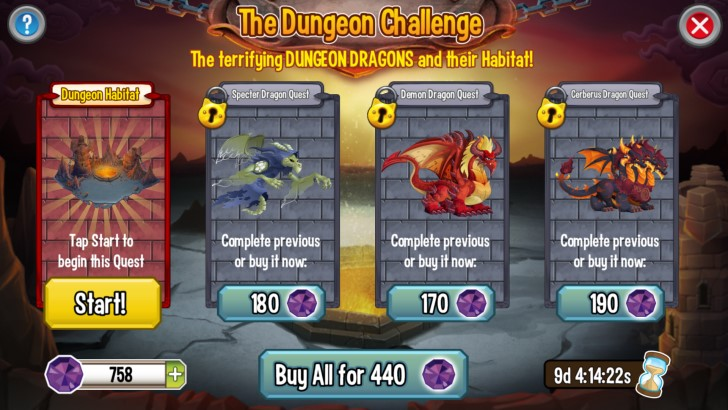 Quests in the Dungeon Challenge!