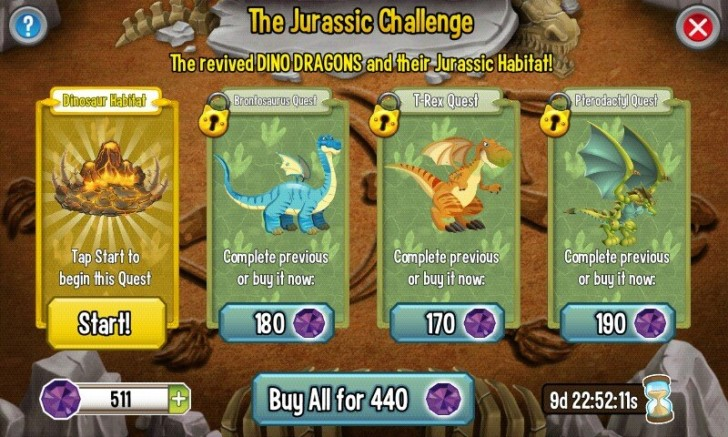 Jurassic Challenge (Dino Island) in Dragon City!