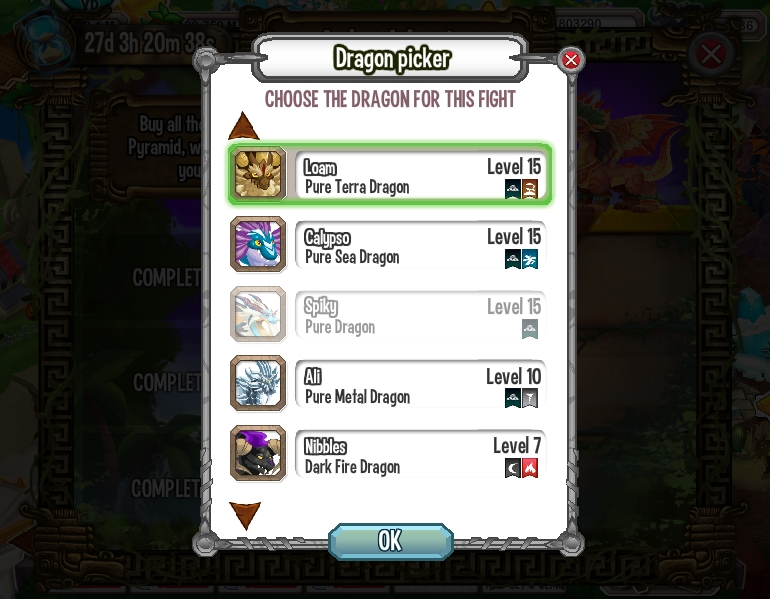 Choose a dragon with Terra or Ice attacks, which doesn't have Ice, Sea, Dark, or Light as it's primary element.