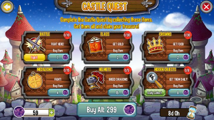 Collect Items for the Castle Island Quest