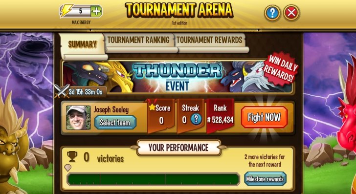 Thunder Event Dragon City Tournament Arena