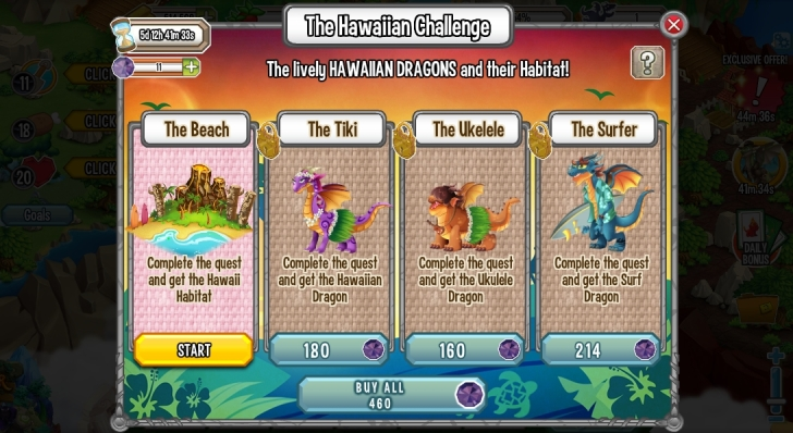 Quests in Hawaiian Challenge